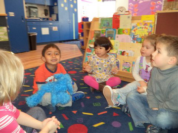 Spanish Immersion class on the floor